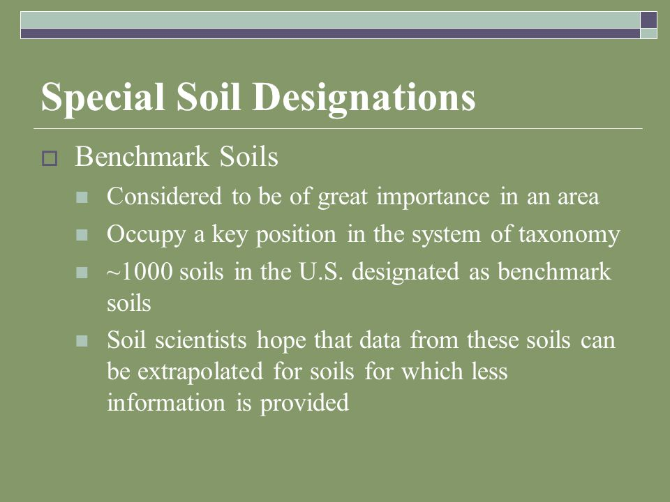 Special Soil Designations  Benchmark Soils Considered to be of great importance in an area Occupy a key position in the system of taxonomy ~1000 soils in the U.S.