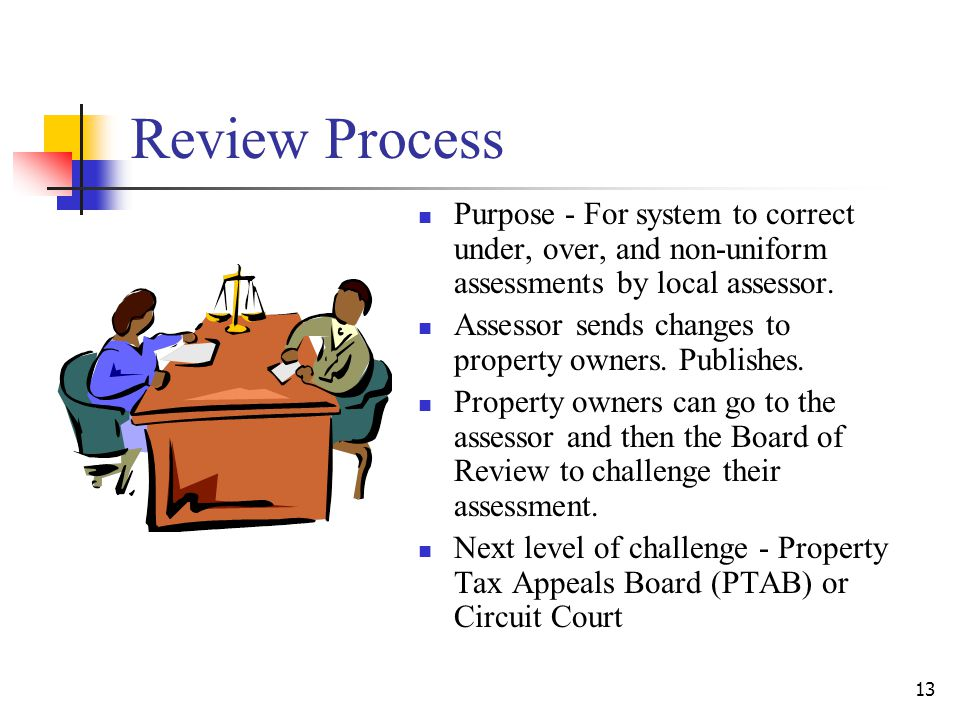 Review Process Purpose - For system to correct under, over, and non-uniform assessments by local assessor.