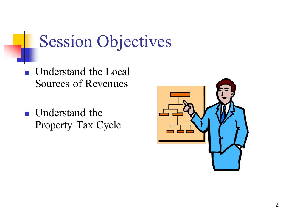 Session Objectives Understand the Local Sources of Revenues Understand the Property Tax Cycle 2