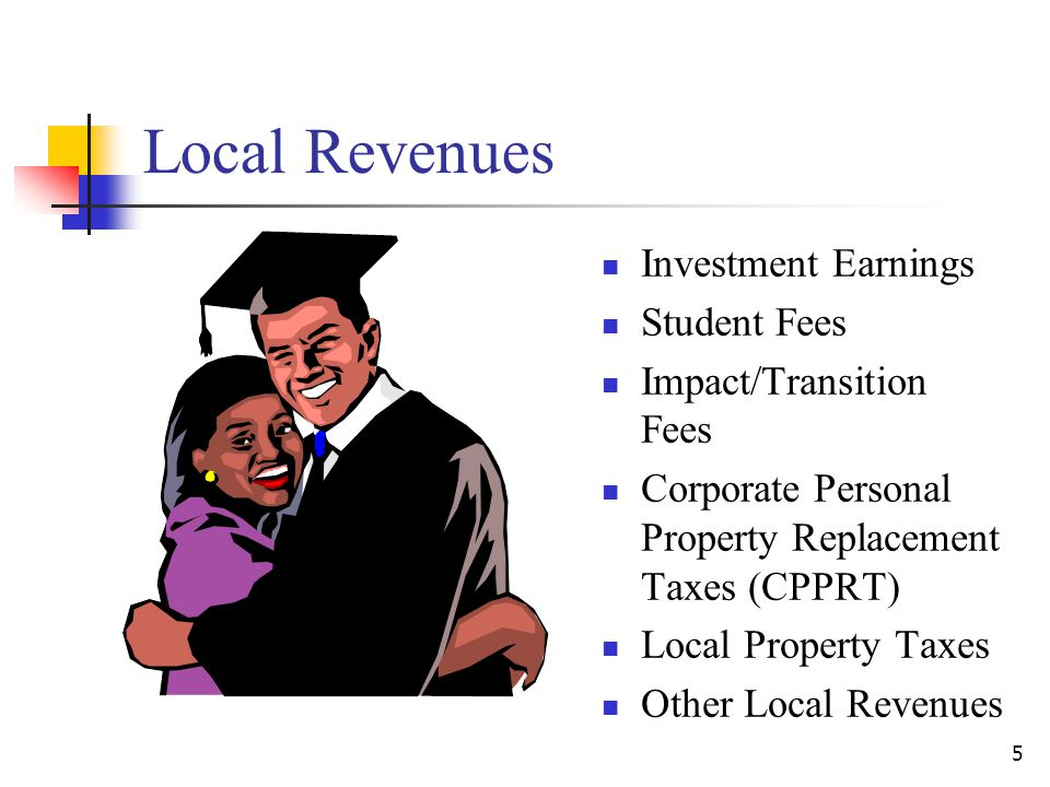 Local Revenues Investment Earnings Student Fees Impact/Transition Fees Corporate Personal Property Replacement Taxes (CPPRT) Local Property Taxes Other Local Revenues 5