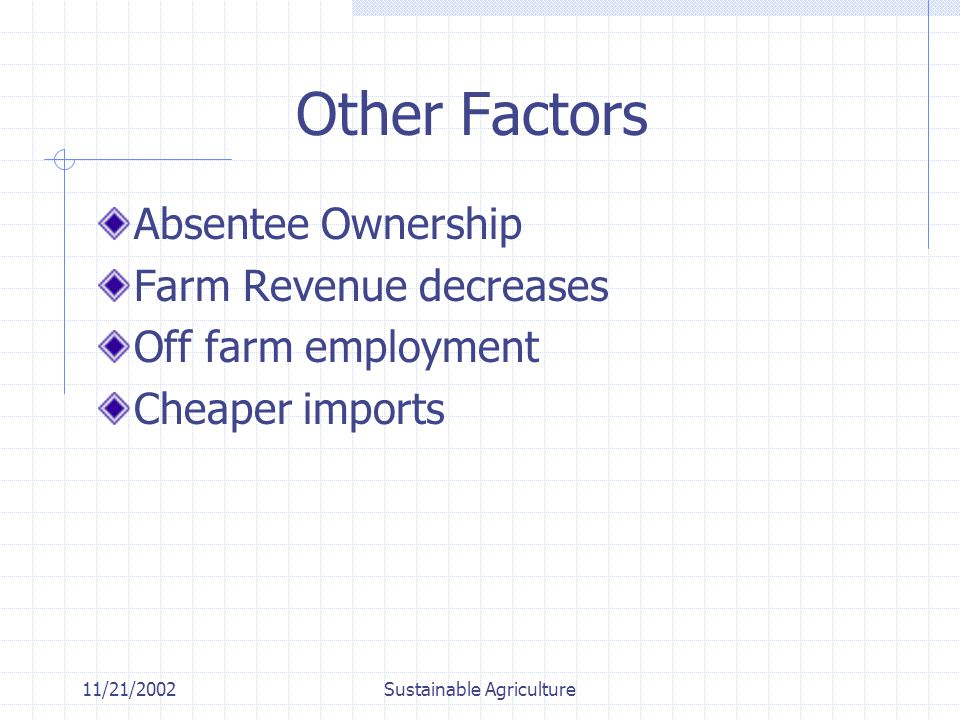 11/21/2002Sustainable Agriculture Other Factors Absentee Ownership Farm Revenue decreases Off farm employment Cheaper imports