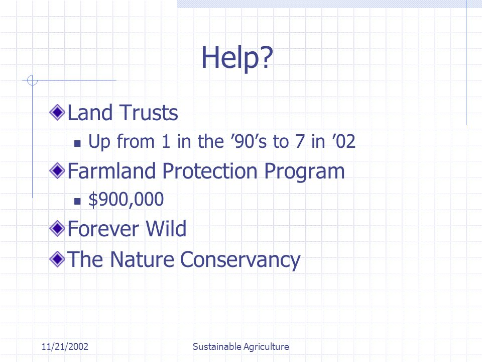 11/21/2002Sustainable Agriculture Help.