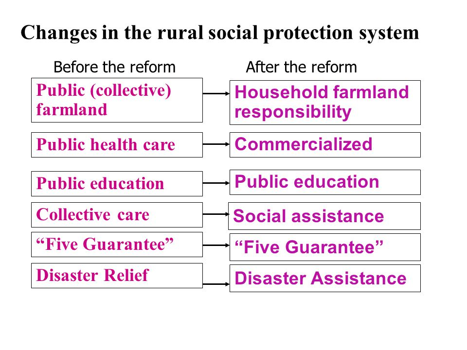 Public (collective) farmland Public health care Household farmland responsibility Public education Commercialized Public education Collective care Social assistance Five Guarantee Disaster Relief Disaster Assistance Changes in the rural social protection system Before the reformAfter the reform