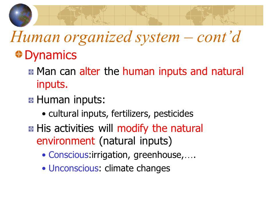 Human organized system – cont'd Dynamics Man can alter the human inputs and natural inputs. Human inputs: cultural inputs, fertilizers, pesticides His