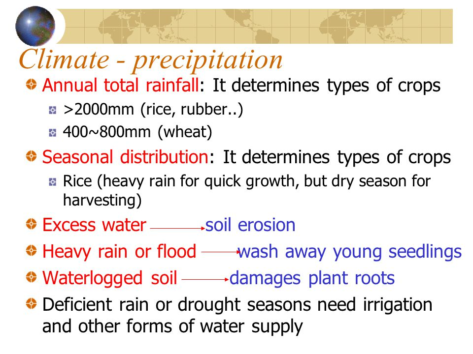 Climate - precipitation Annual total rainfall: It determines types of crops >2000mm (rice, rubber..) 400~800mm (wheat) Seasonal distribution: It deter