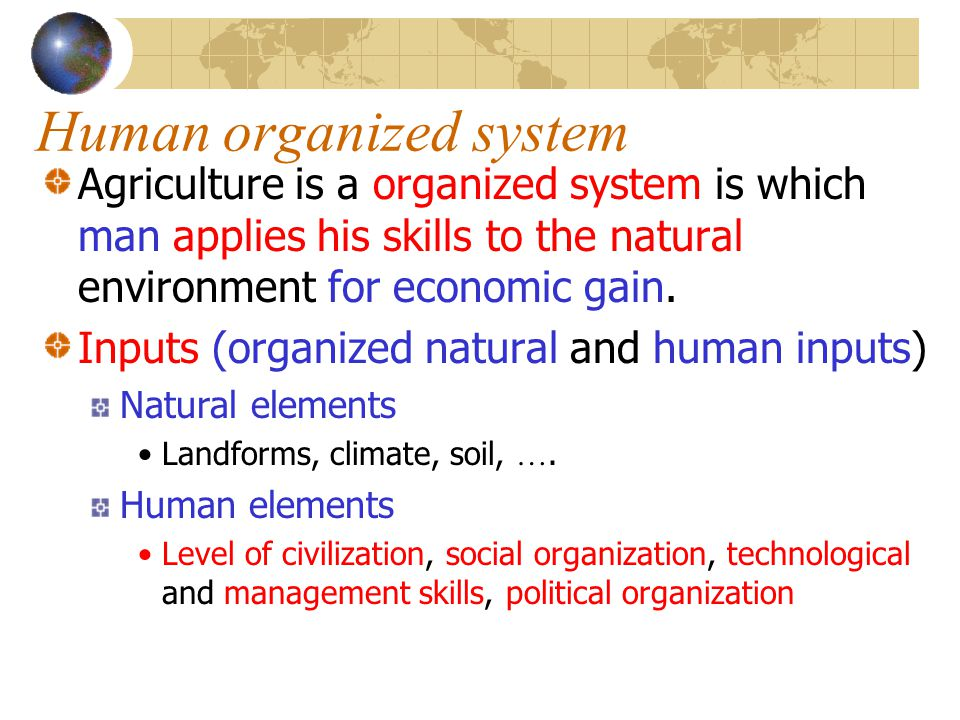 Human organized system Agriculture is a organized system is which man applies his skills to the natural environment for economic gain. Inputs (organiz