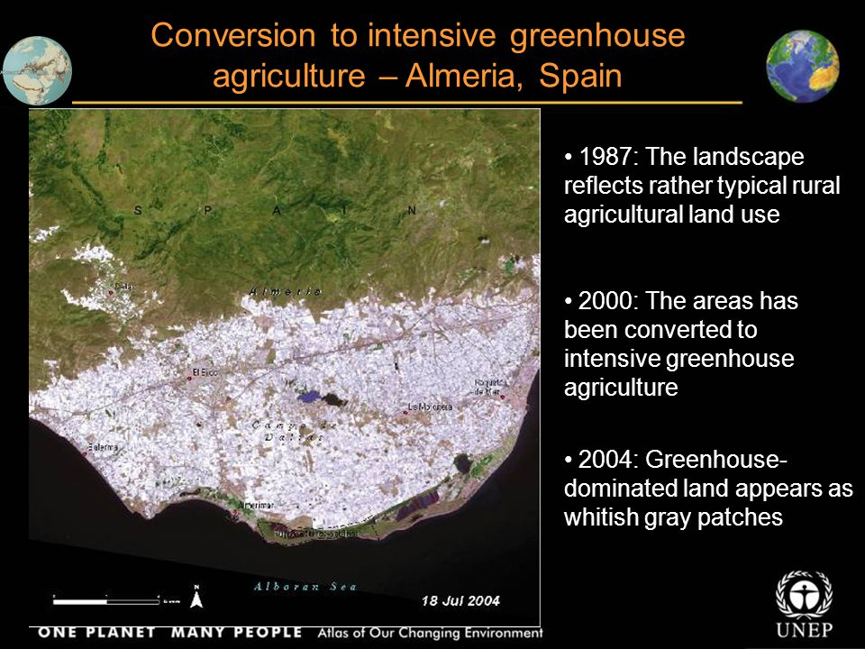 1987: The landscape reflects rather typical rural agricultural land use 2000: The areas has been converted to intensive greenhouse agriculture 2004: Greenhouse- dominated land appears as whitish gray patches Conversion to intensive greenhouse agriculture – Almeria, Spain