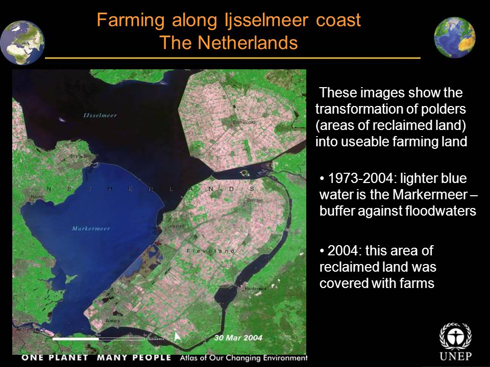 These images show the transformation of polders (areas of reclaimed land) into useable farming land 1973-2004: lighter blue water is the Markermeer – buffer against floodwaters 2004: this area of reclaimed land was covered with farms Farming along Ijsselmeer coast The Netherlands