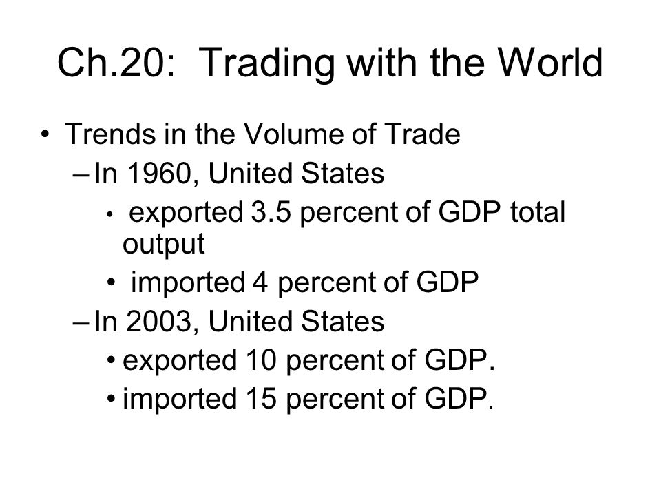 Ch.20: Trading with the World Trends in the Volume of Trade –In 1960, United States exported 3.5 percent of GDP total output imported 4 percent of GDP