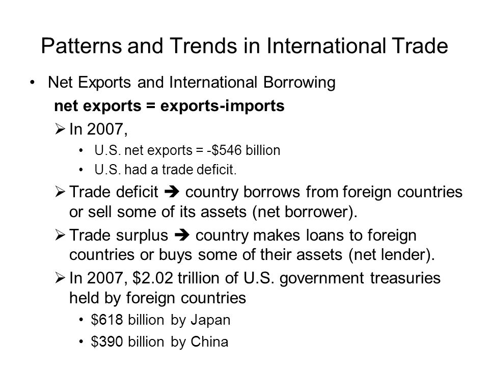Patterns and Trends in International Trade Net Exports and International Borrowing net exports = exports-imports  In 2007, U.S. net exports = -$546 b