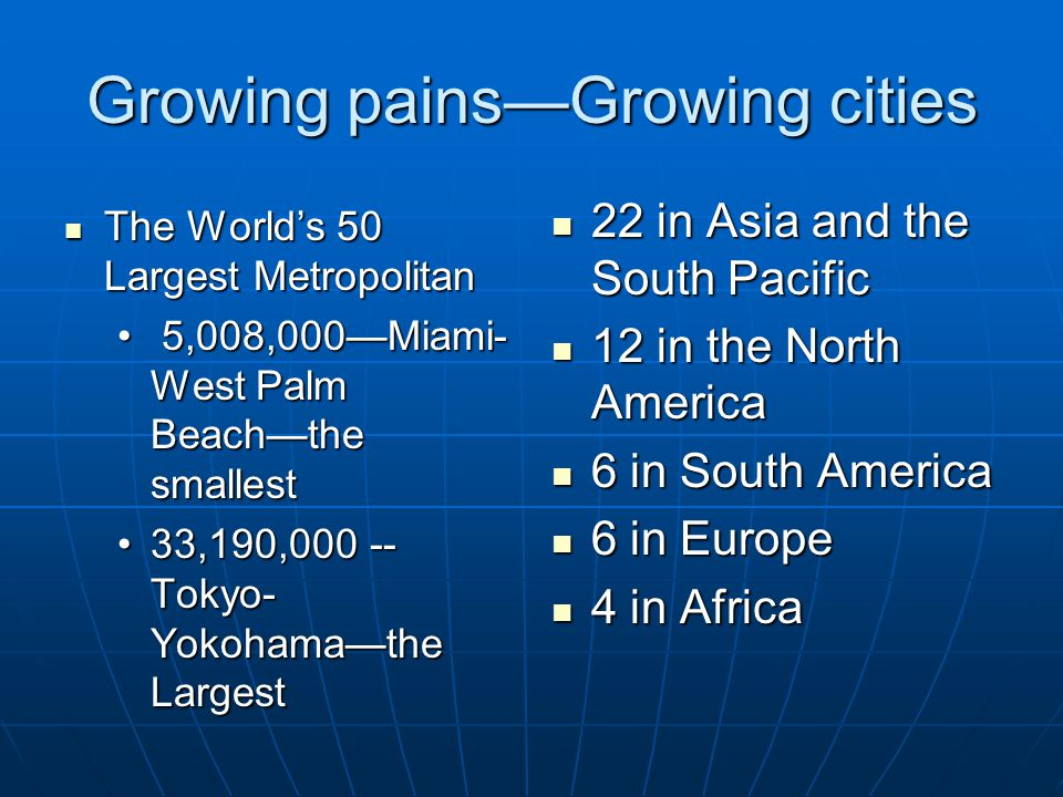 Growing pains—Growing cities The World's 50 Largest Metropolitan The World's 50 Largest Metropolitan 5,008,000—Miami- West Palm Beach—the smallest 5,008,000—Miami- West Palm Beach—the smallest 33,190,000 -- Tokyo- Yokohama—the Largest33,190,000 -- Tokyo- Yokohama—the Largest 22 in Asia and the South Pacific 22 in Asia and the South Pacific 12 in the North America 12 in the North America 6 in South America 6 in South America 6 in Europe 6 in Europe 4 in Africa 4 in Africa