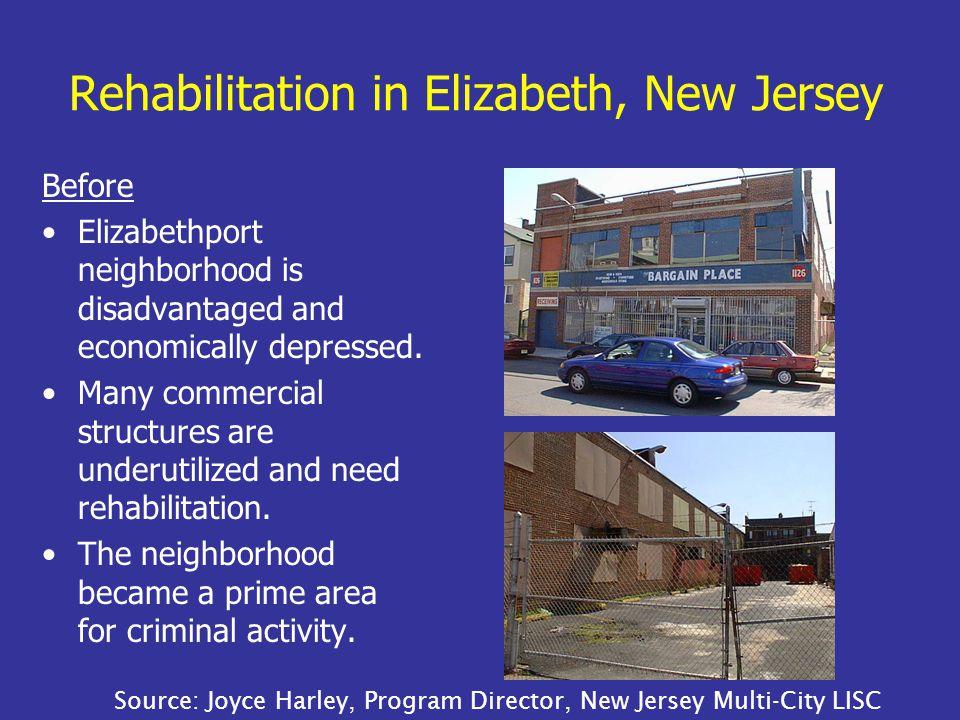 Rehabilitation in Elizabeth, New Jersey Before Elizabethport neighborhood is disadvantaged and economically depressed.