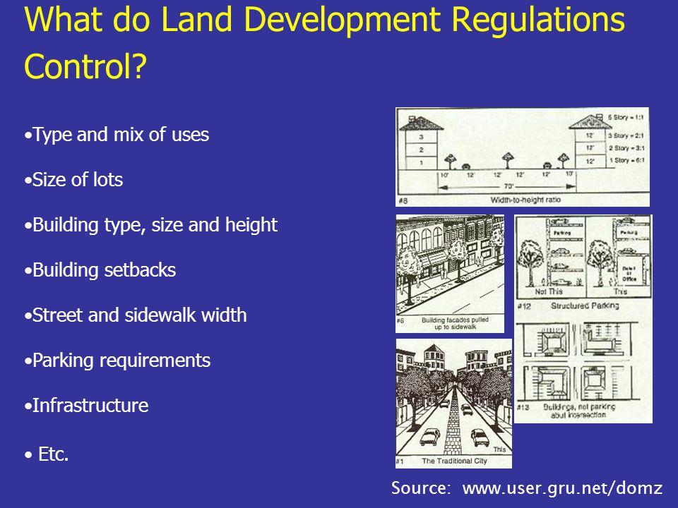 What do Land Development Regulations Control.