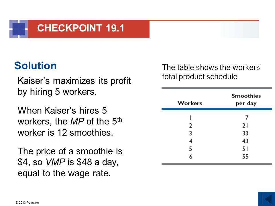 © 2013 Pearson Solution Kaiser's maximizes its profit by hiring 5 workers.