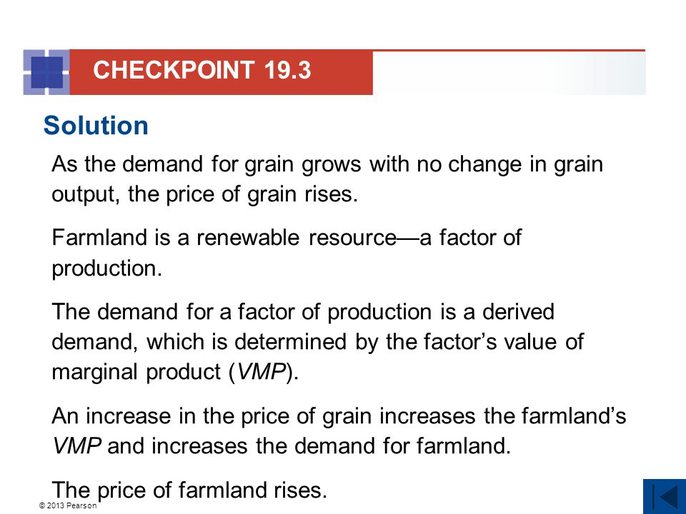 © 2013 Pearson Solution As the demand for grain grows with no change in grain output, the price of grain rises.