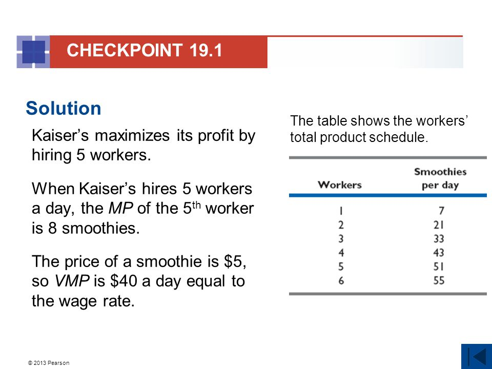 © 2013 Pearson Practice Problem 4 Kaiser's Ice Cream Parlour hires workers to produce smoothies.