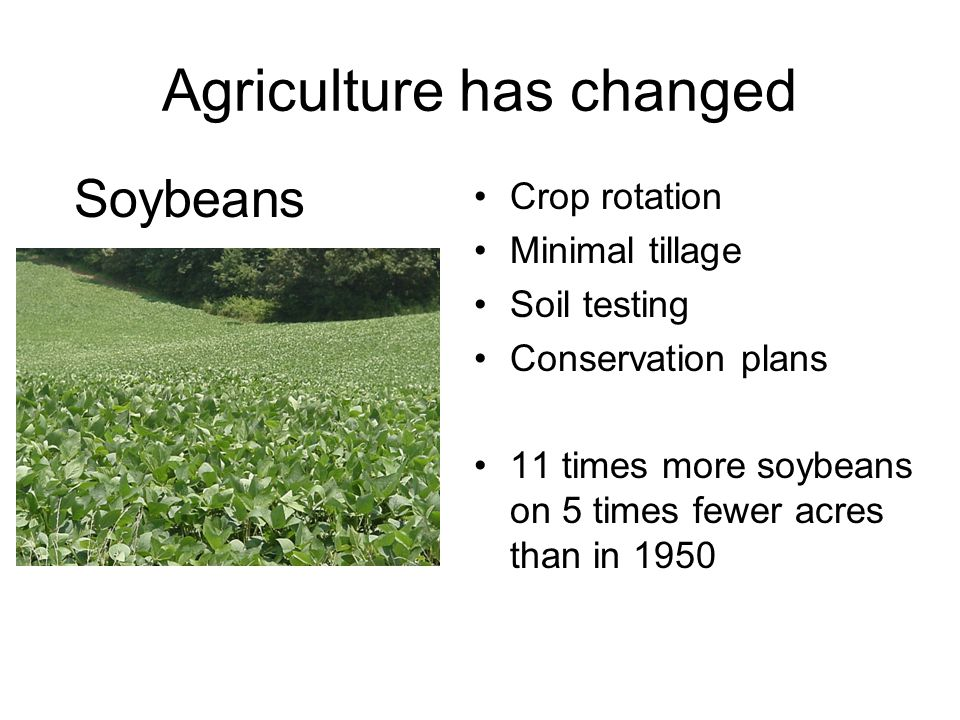 Agriculture has changed Crop rotation Minimal tillage Soil testing Conservation plans 11 times more soybeans on 5 times fewer acres than in 1950 Soybeans