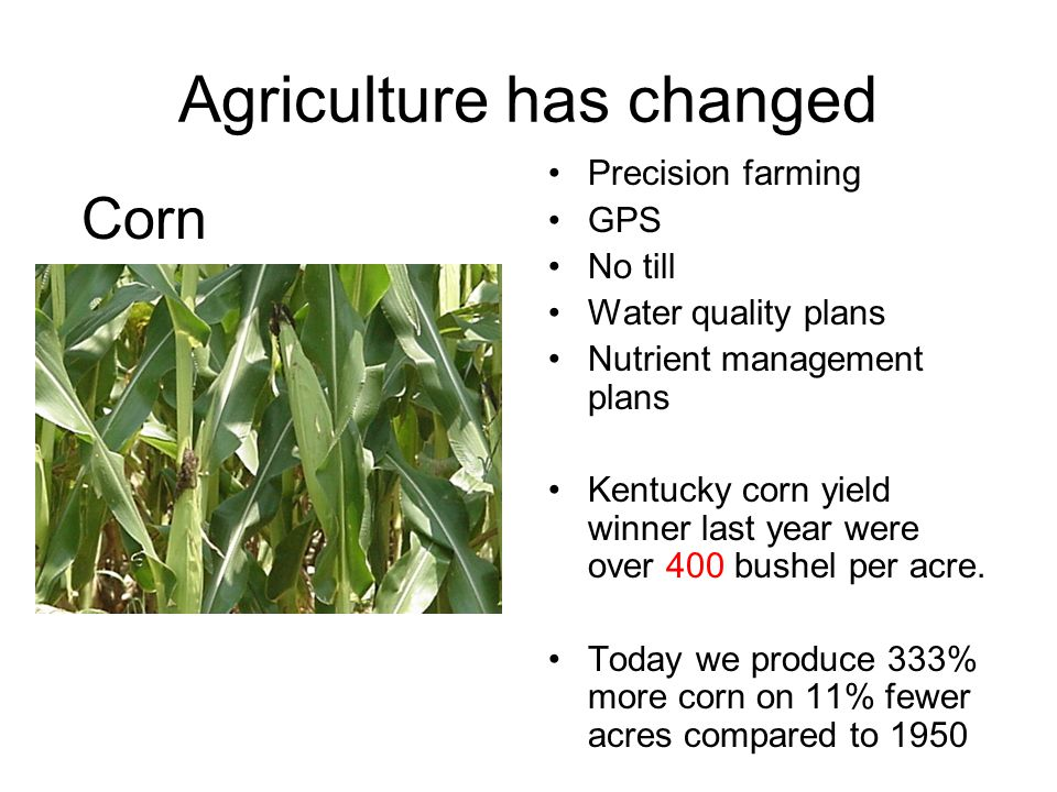 Agriculture has changed Precision farming GPS No till Water quality plans Nutrient management plans Kentucky corn yield winner last year were over 400 bushel per acre.