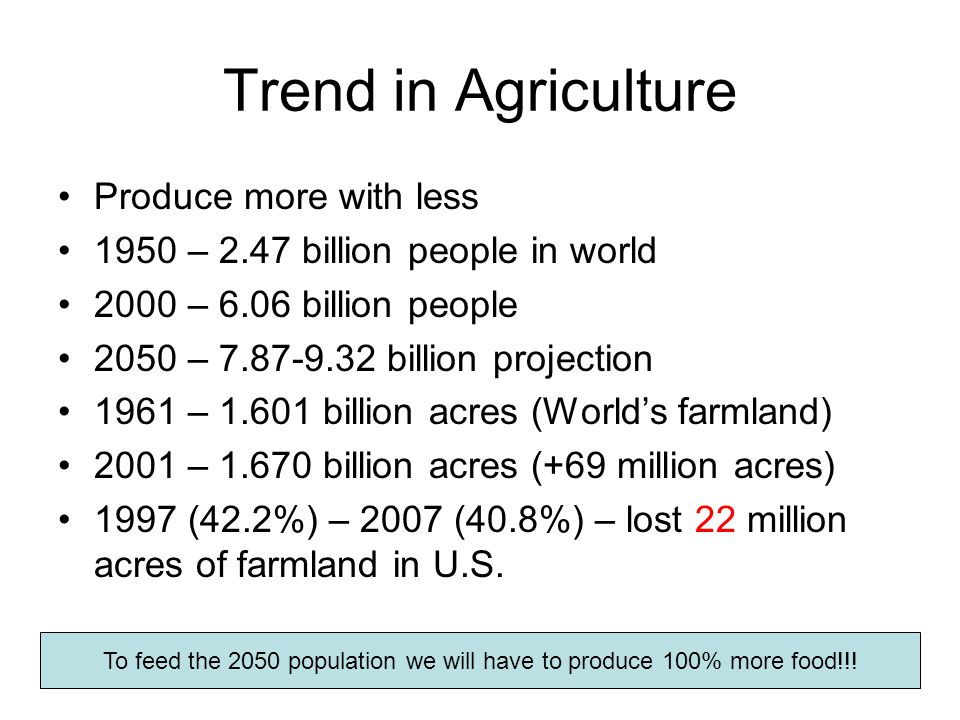 Trend in Agriculture Produce more with less 1950 – 2.47 billion people in world 2000 – 6.06 billion people 2050 – 7.87-9.32 billion projection 1961 – 1.601 billion acres (World's farmland) 2001 – 1.670 billion acres (+69 million acres) 1997 (42.2%) – 2007 (40.8%) – lost 22 million acres of farmland in U.S.