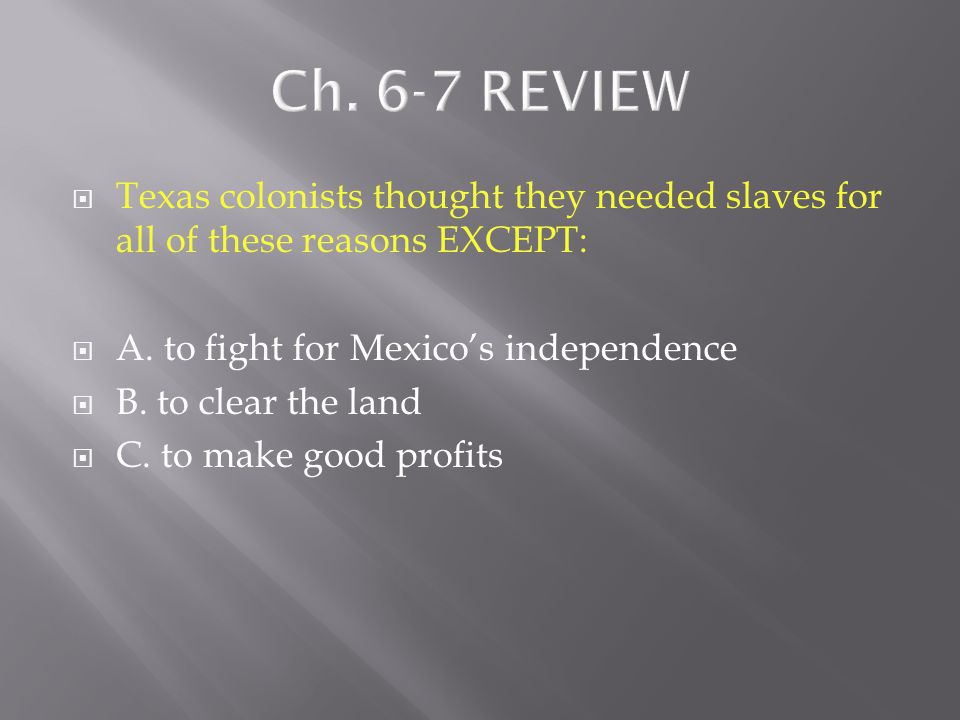  Centralists in the Mexican government believed ___________.  A. power should be concentrated in the national government