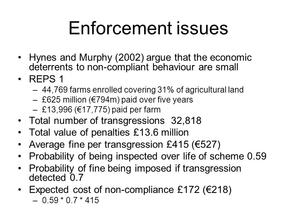 Enforcement issues Hynes and Murphy (2002) argue that the economic deterrents to non-compliant behaviour are small REPS 1 –44,769 farms enrolled cover
