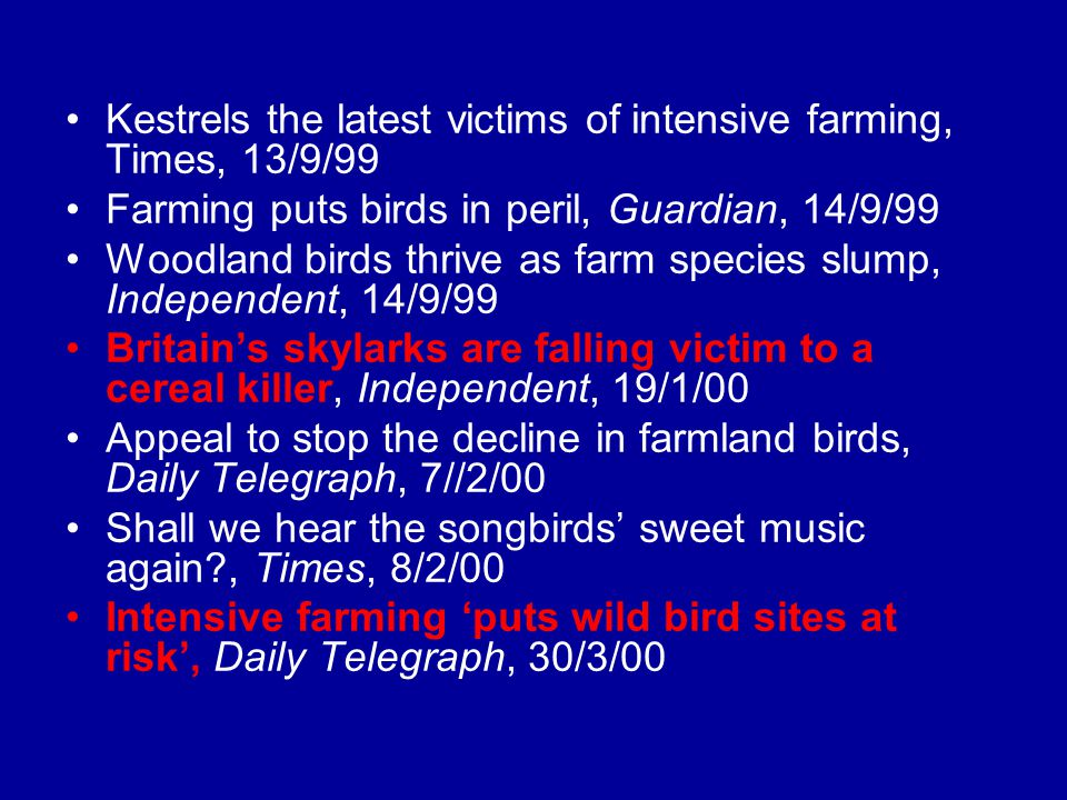 Kestrels the latest victims of intensive farming, Times, 13/9/99 Farming puts birds in peril, Guardian, 14/9/99 Woodland birds thrive as farm species