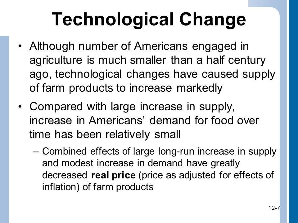 12-7 Technological Change Although number of Americans engaged in agriculture is much smaller than a half century ago, technological changes have caused supply of farm products to increase markedly Compared with large increase in supply, increase in Americans' demand for food over time has been relatively small –Combined effects of large long-run increase in supply and modest increase in demand have greatly decreased real price (price as adjusted for effects of inflation) of farm products 12-7