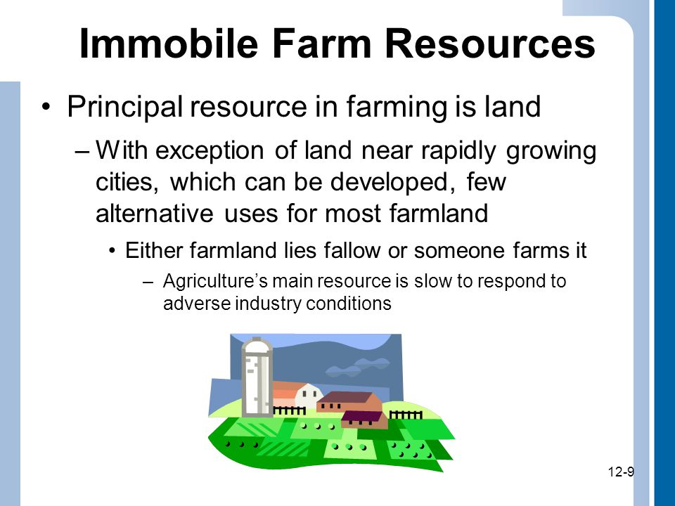 12-9 Immobile Farm Resources Principal resource in farming is land –With exception of land near rapidly growing cities, which can be developed, few alternative uses for most farmland Either farmland lies fallow or someone farms it –Agriculture's main resource is slow to respond to adverse industry conditions 12-9