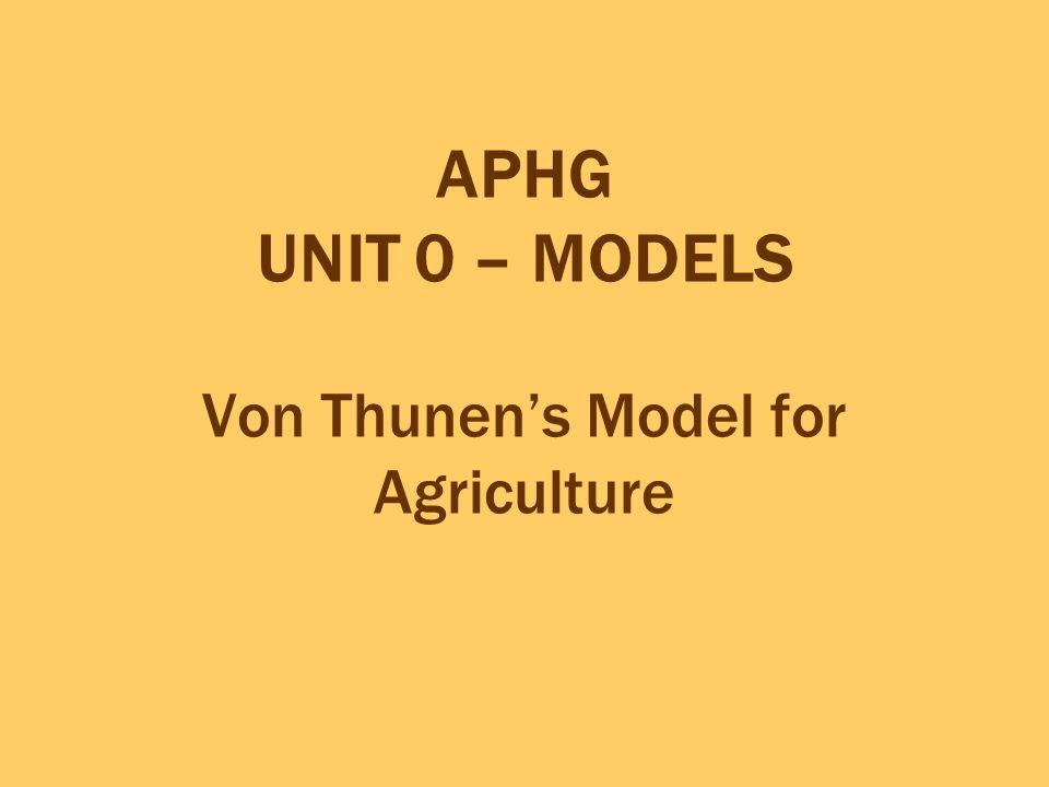 APHG UNIT 0 – MODELS Von Thunen's Model for Agriculture