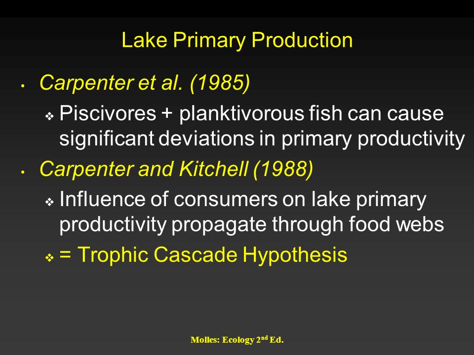 Molles: Ecology 2 nd Ed. Lake Primary Production Carpenter et al. (1985)  Piscivores + planktivorous fish can cause significant deviations in primary