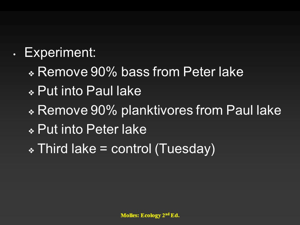 Molles: Ecology 2 nd Ed. Experiment:  Remove 90% bass from Peter lake  Put into Paul lake  Remove 90% planktivores from Paul lake  Put into Peter