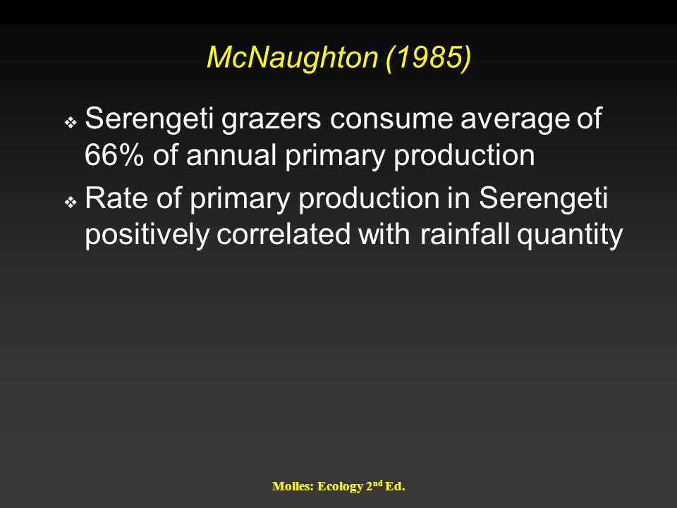 Molles: Ecology 2 nd Ed. McNaughton (1985)  Serengeti grazers consume average of 66% of annual primary production  Rate of primary production in Ser