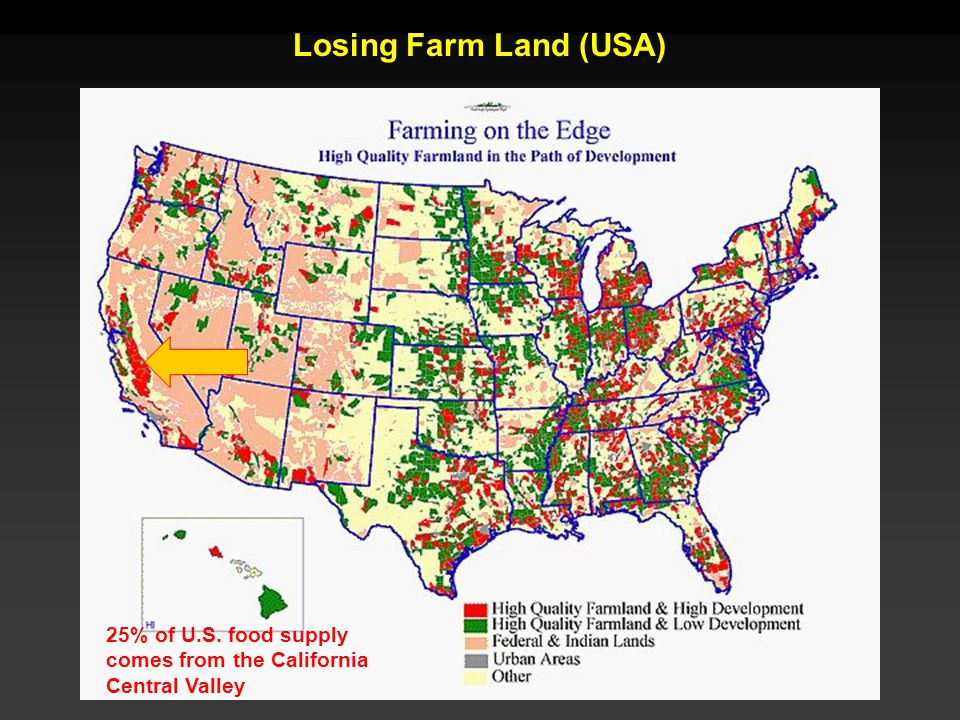 Losing Farm Land (USA) 25% of U.S. food supply comes from the California Central Valley