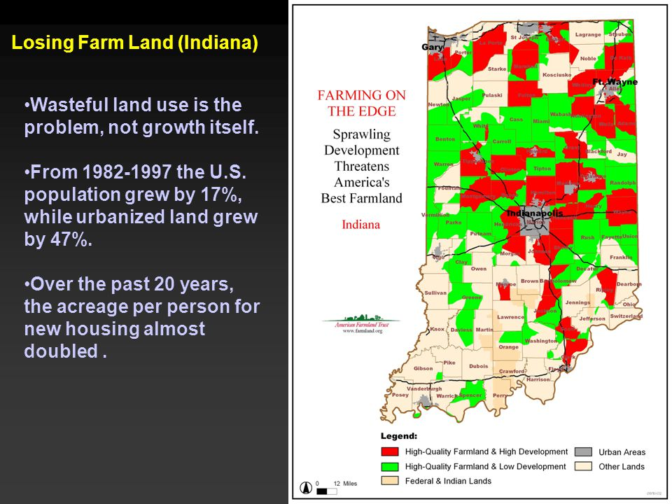 Losing Farm Land (Indiana) Wasteful land use is the problem, not growth itself. From 1982-1997 the U.S. population grew by 17%, while urbanized land g