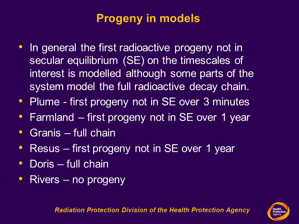 Radiation Protection Division of the Health Protection Agency Progeny in models In general the first radioactive progeny not in secular equilibrium (SE) on the timescales of interest is modelled although some parts of the system model the full radioactive decay chain.