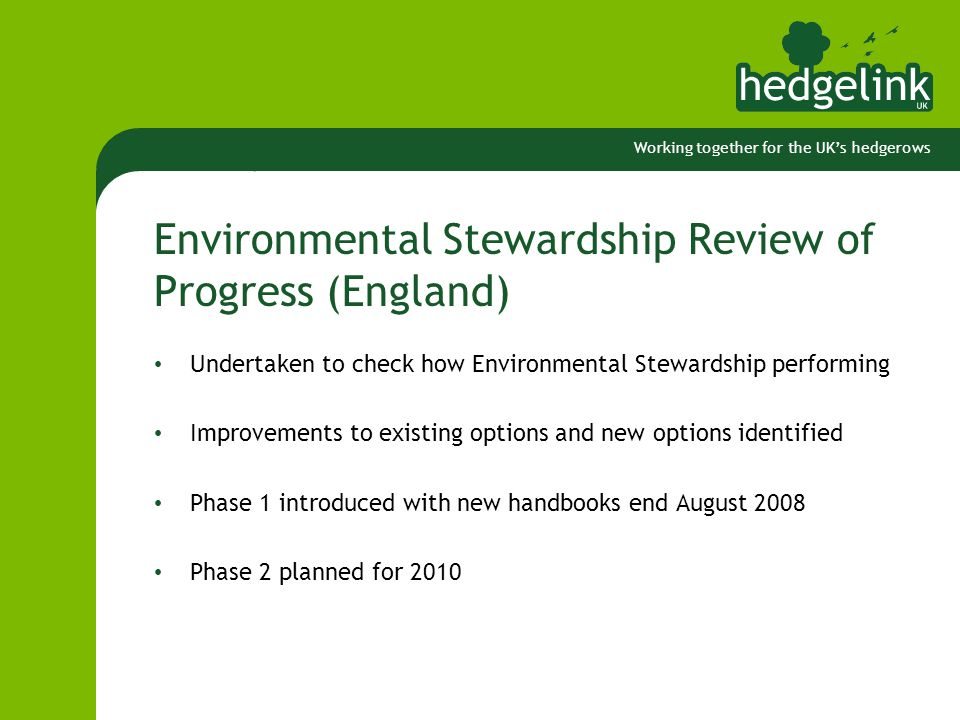 Working together for the UK's hedgerows Environmental Stewardship Review of Progress (England) Undertaken to check how Environmental Stewardship performing Improvements to existing options and new options identified Phase 1 introduced with new handbooks end August 2008 Phase 2 planned for 2010