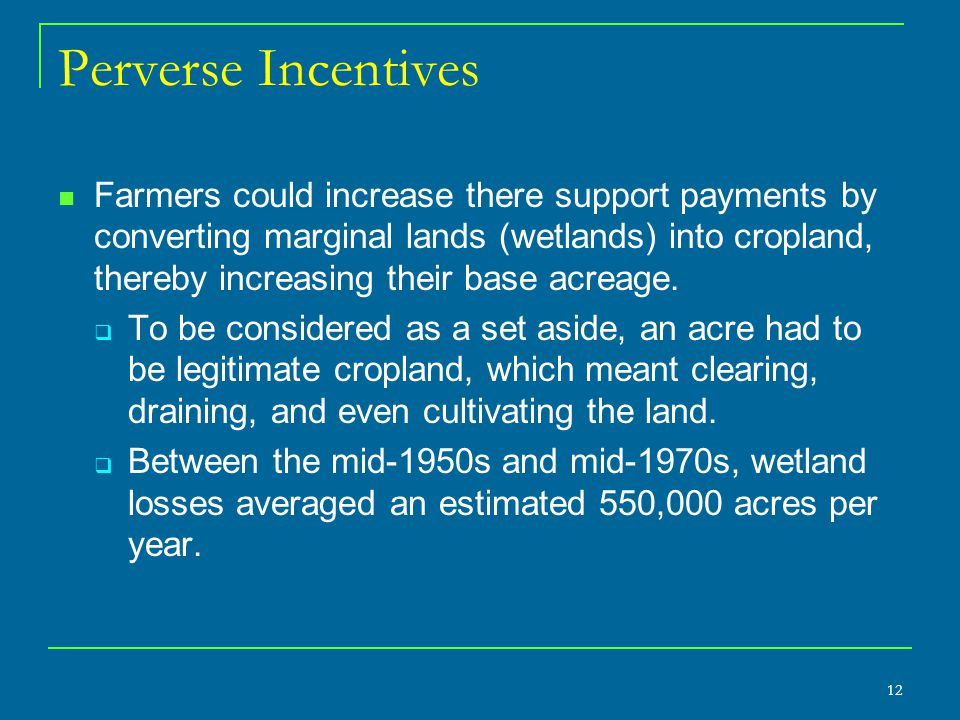 12 Perverse Incentives Farmers could increase there support payments by converting marginal lands (wetlands) into cropland, thereby increasing their base acreage.