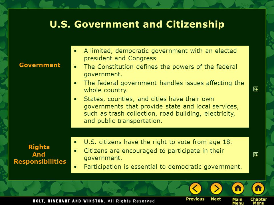 U.S. citizens have the right to vote from age 18. Citizens are encouraged to participate in their government. Participation is essential to democratic