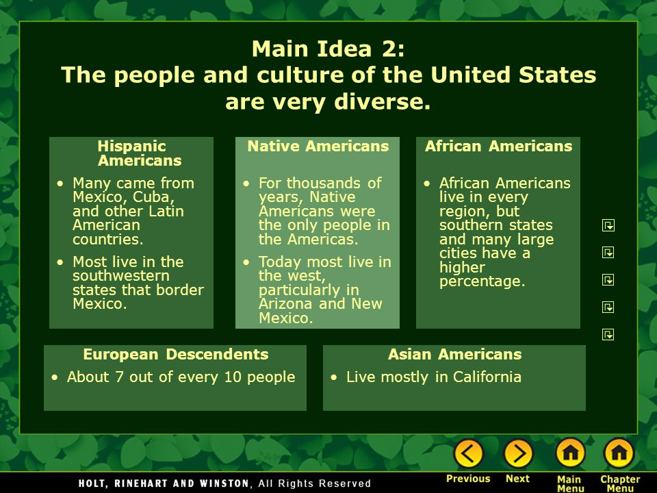 Main Idea 2: The people and culture of the United States are very diverse. Hispanic Americans Many came from Mexico, Cuba, and other Latin American co