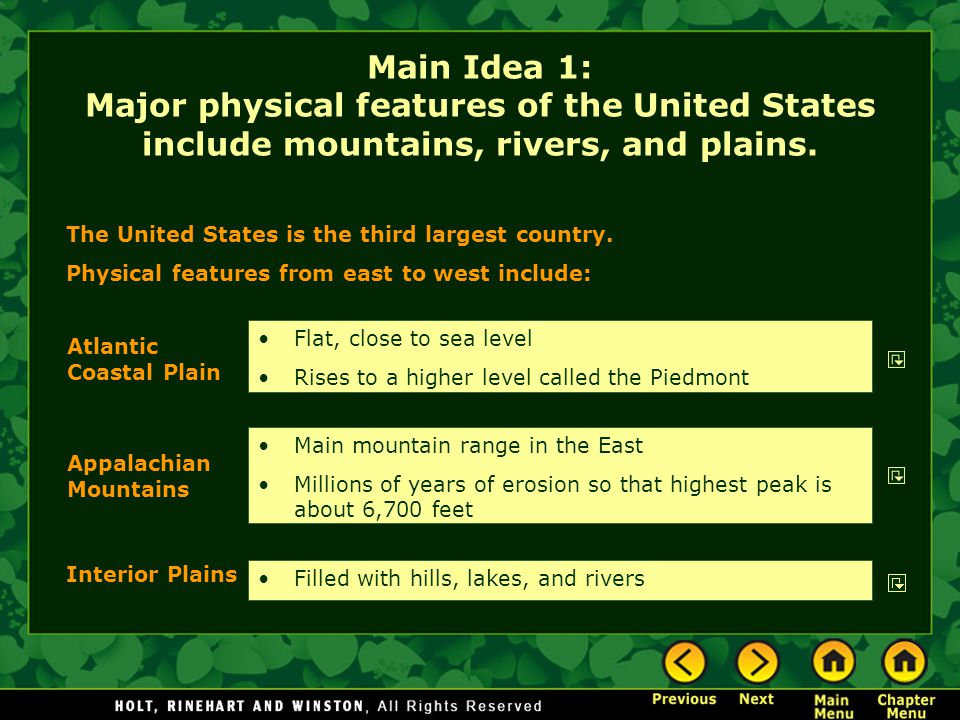 Main Idea 1: Major physical features of the United States include mountains, rivers, and plains. Main mountain range in the East Millions of years of