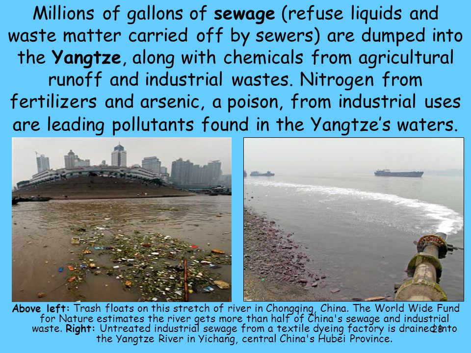 28 Millions of gallons of sewage (refuse liquids and waste matter carried off by sewers) are dumped into the Yangtze, along with chemicals from agricu