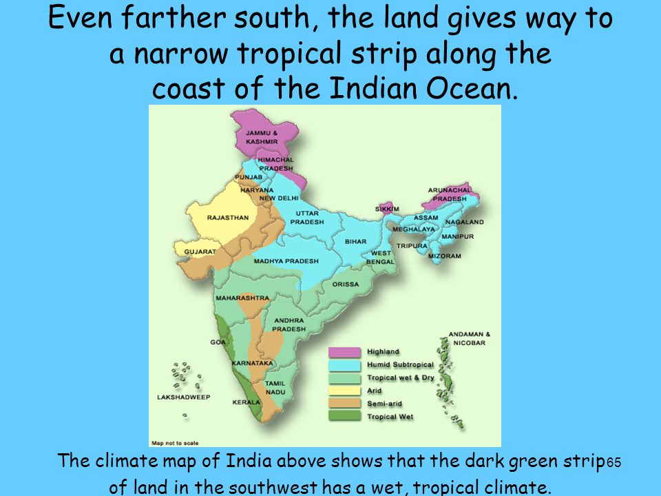 65 Even farther south, the land gives way to a narrow tropical strip along the coast of the Indian Ocean. The climate map of India above shows that th