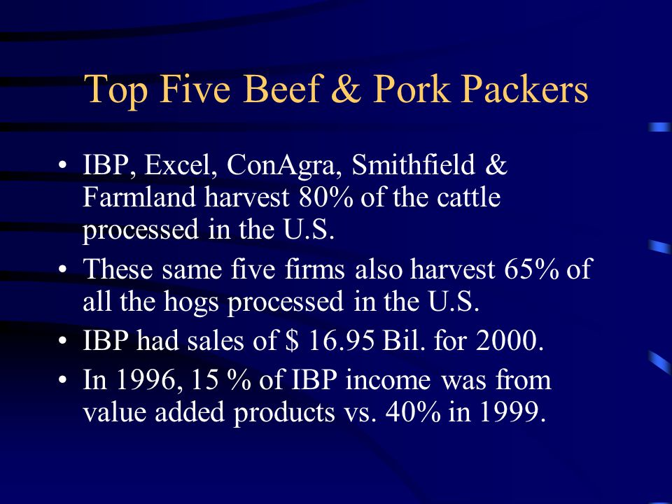 Top Five Beef & Pork Packers IBP, Excel, ConAgra, Smithfield & Farmland harvest 80% of the cattle processed in the U.S.