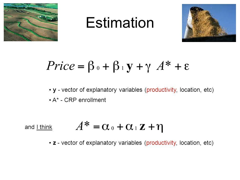 Estimation y - vector of explanatory variables (productivity, location, etc) A* - CRP enrollment and I think z - vector of explanatory variables (productivity, location, etc)