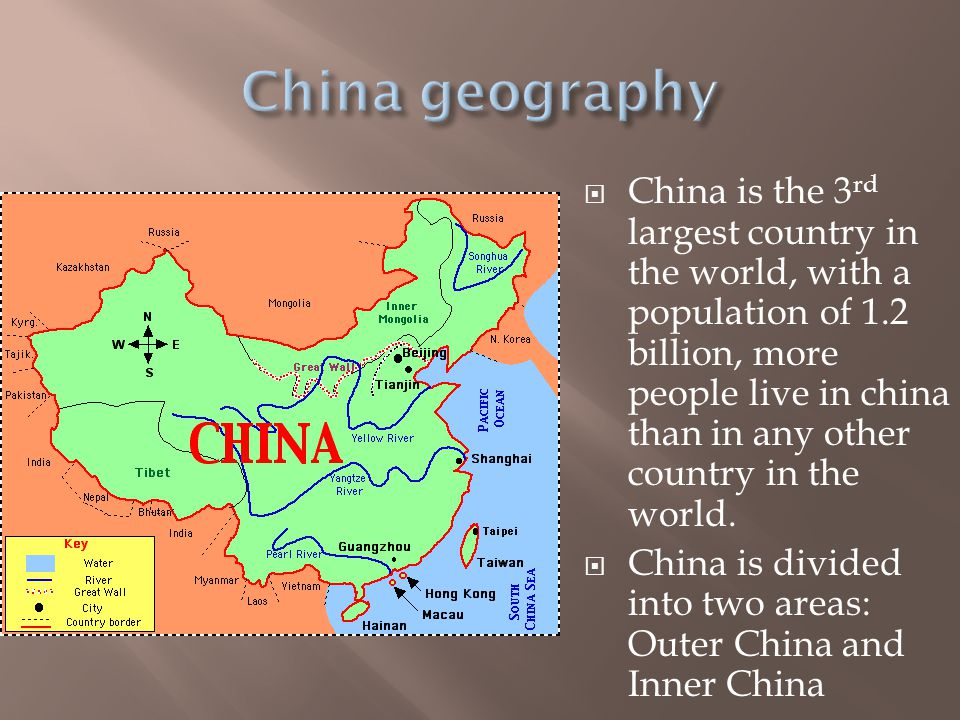  China is the 3 rd largest country in the world, with a population of 1.2 billion, more people live in china than in any other country in the world.