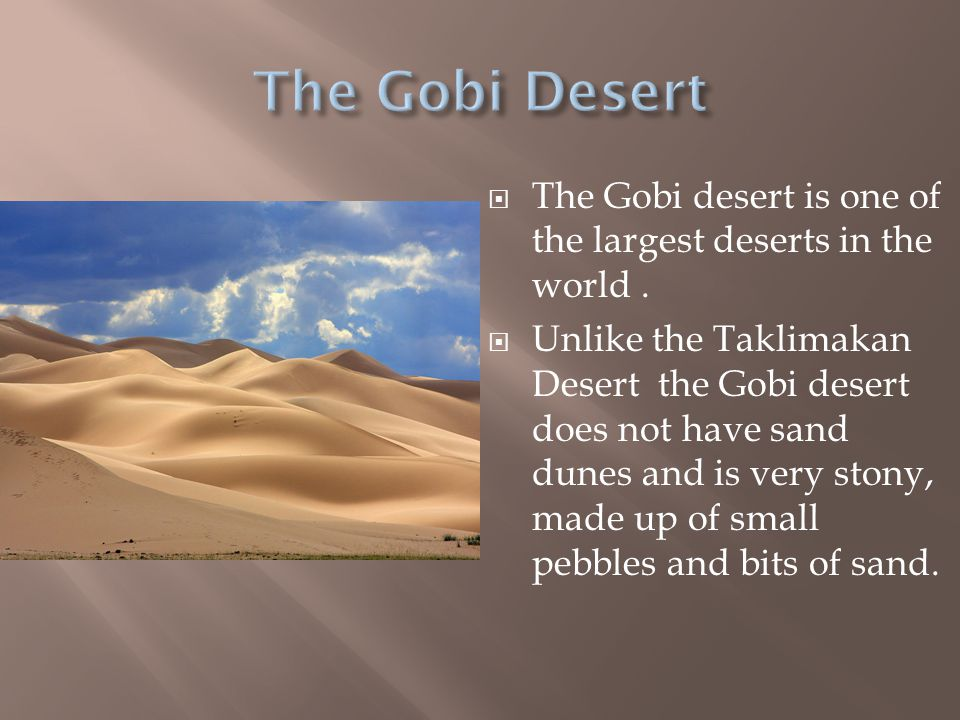  The Gobi desert is one of the largest deserts in the world.