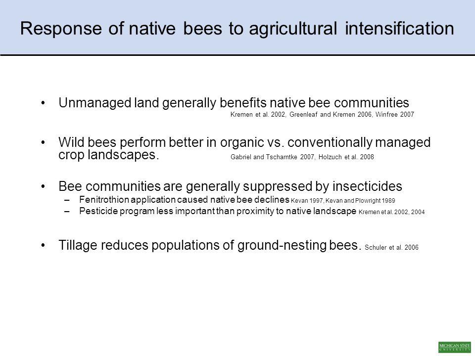 Unmanaged land generally benefits native bee communities Kremen et al.