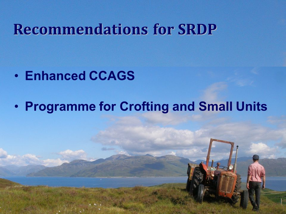 Enhanced CCAGS Programme for Crofting and Small Units Recommendations for SRDP
