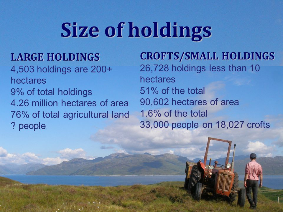 LARGE HOLDINGS 4,503 holdings are 200+ hectares 9% of total holdings 4.26 million hectares of area 76% of total agricultural land ? people CROFTS/SMAL