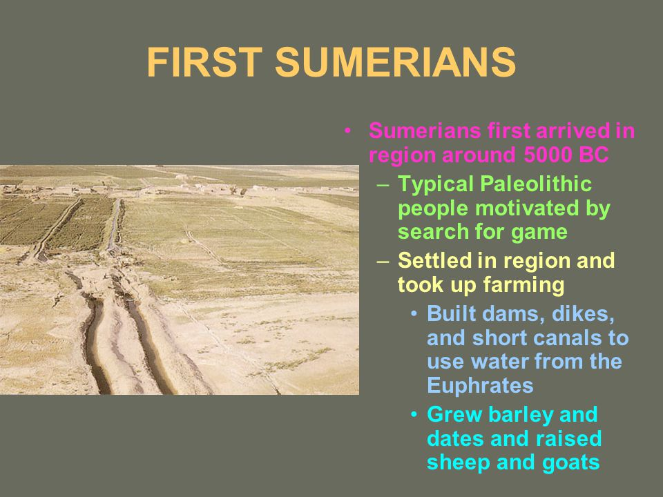 FIRST SUMERIANS Sumerians first arrived in region around 5000 BC –Typical Paleolithic people motivated by search for game –Settled in region and took